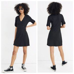 Madewell Cross Front Button Black Dress L NWT